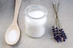 Ingredients for homemade body scrub Stock Photos