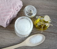 Ingredients for homemade body scrub Royalty Free Stock Photo