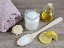 Ingredients for homemade body scrub Stock Image