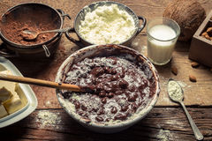 Ingredients for homemade chocolate with nuts Stock Image