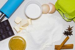 Ingredients for homemade christmas cookies. Dough recipe ingredi. Ents eggs, flour, butter, sugar on  table the view from the top Royalty Free Stock Photos