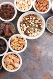 Ingredients for homemade granola on the grey Stock Photos