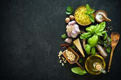 Ingredients for homemade green basil pesto Royalty Free Stock Photo