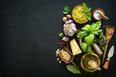 Ingredients for homemade green basil pesto Royalty Free Stock Image