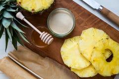 Ingredients for Homemade Honey-glazed Pineapple Tarts Royalty Free Stock Photo