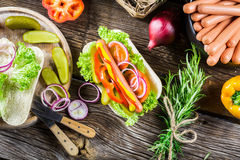 Ingredients for homemade hot dog with fresh vegetable Royalty Free Stock Images