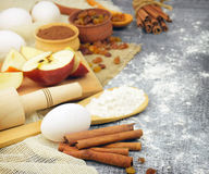 Ingredients for homemade pastries. Rustic style. Stock Photos