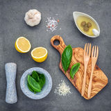 The ingredients for homemade pesto sauce : basil, parmesan cheese ,garlic, olive oil , lemon and himalayan salt over dark stock image
