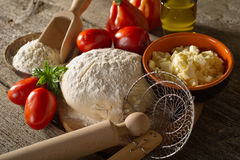 Ingredients for homemade pizza Stock Photography