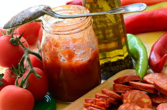Ingredients for homemade pizza with fresh tomatoes, peppers, olives, mushroom and cheese Stock Photo
