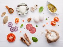 The ingredients for homemade pizza with ingredients sweet basil Stock Photo