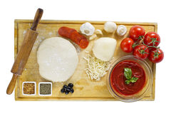 Ingredients for homemade pizza Stock Images