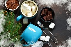 Ingredients for a hot Christmas drink. Winter drink.  stock image