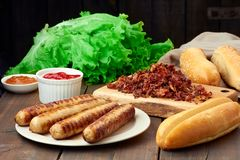 Ingredients for hot dogs Royalty Free Stock Photo