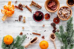 Ingredients mulled wine or grog with spices and citrus for winter evening. Christmas new year eve. Wooden background top Stock Images