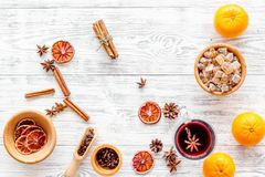 Ingredients mulled wine or grog with spices and citrus for winter evening. Christmas new year eve. Wooden background top Royalty Free Stock Photo