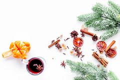 Ingredients mulled wine or grog with spices and citrus for winter evening. Christmas new year eve. White background top Royalty Free Stock Photography