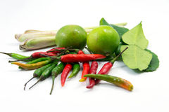 Ingredients for hot and sour Thai soup, Tom Yum Stock Images