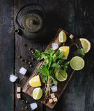 Ingredients for ice green tea Stock Images