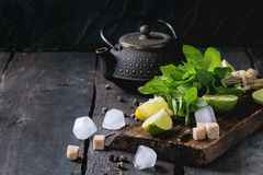 Ingredients for ice green tea Stock Photos