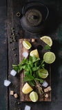 Ingredients for ice green tea Stock Photo