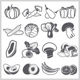 Ingredients Icons Set Vegetable And Fruit For Nutrition Food Royalty Free Stock Photos