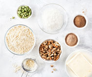 Ingredients of Indian sweets Besan Ladoo Stock Photos