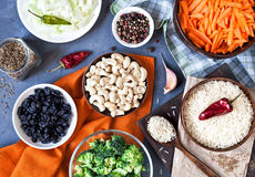 Ingredients of Indian Vegetarian Pulao Royalty Free Stock Image