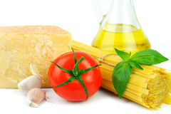 Ingredients for italian cousine. Close up of basic ingredients in italian cousine Stock Images