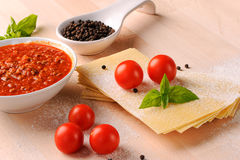 Ingredients for Italian lasagne Royalty Free Stock Photos