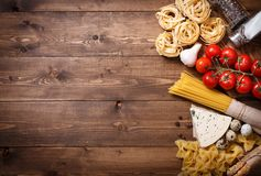 Ingredients for an Italian pasta recipe Royalty Free Stock Photos