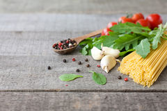 Ingredients for Italian pasta Stock Images