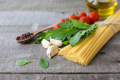 Ingredients for Italian pasta Stock Photos