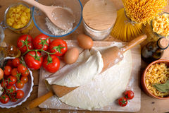 Ingredients of italian pasta. Tray with ingredients of italian pasta Royalty Free Stock Images