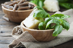 Ingredients for italian pesto with basil and cheese Stock Photo