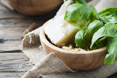 Ingredients for italian pesto with basil, pine and cheese Stock Photos