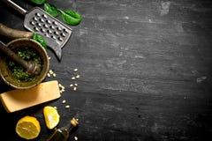 Ingredients for Italian pesto. Stock Photography