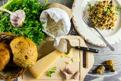 Ingredients of Italian risotto with mushrooms Stock Images