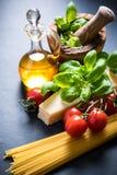 Ingredients for italian spaghetti Royalty Free Stock Photo