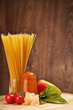 Ingredients for italian spaghetti Stock Image