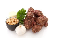 Ingredients for Jerusalem artichoke soup royalty free stock images