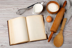 Ingredients and kitchen tools with the old blan Royalty Free Stock Image
