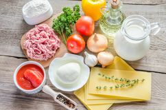 Ingredients for lasagne on the wooden background Stock Photography