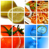 Ingredients: lemon and tomato. These are the healthy food and beverages: lemon and tomato Stock Image