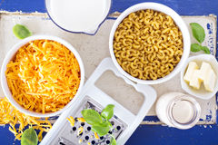 Ingredients for macaroni and cheese Stock Photo
