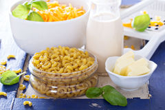 Ingredients for macaroni and cheese Royalty Free Stock Image