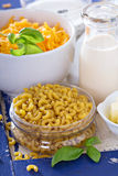 Ingredients for macaroni and cheese Royalty Free Stock Photo