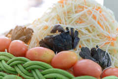 Ingredients for make papaya salad - som tam. Traditional of thai food, Select focus to salted crab royalty free stock image