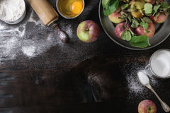 Ingredients for making apple cake Stock Photo