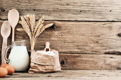 Ingredients for making articles of flour (flour, eggs, milk) Royalty Free Stock Photography